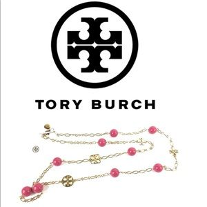 Tory Burch Logo Chain Necklace-Coral